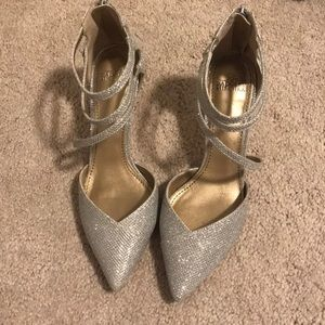 Belle Badgley Mischka silver heels